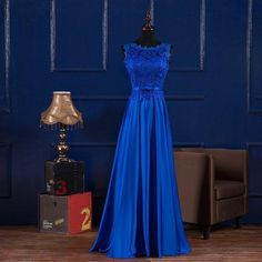 Scoop Neck Long Lace Satin Evening Dress Royal Blue Burgundy 2016 Floor Length Party Dress Lace Up Plus Size Evening Dresses Strapless Dresses From Evenwedding, $58.95| Dhgate.Com