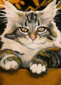 ACEO OIL PAINTING  CAT WITH GOLDEN EYES   SIGNED BY  BRADBERRY #Expressionism