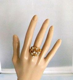 Gold Plated Crystal Nugget Style Ring by ediesbest on Etsy, $14.95