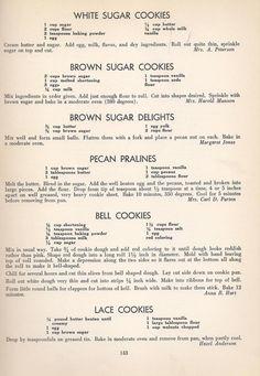Vintage Recipes: 96 Cookie Recipes from 1940 Retro Recipes, Old Recipes, Vintage Recipes, Cookbook Recipes, Sweet Recipes, Frugal Recipes, Amish Recipes, Southern Recipes, Yummy Recipes
