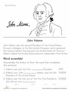 Worksheets: Historical Heroes: John Adams