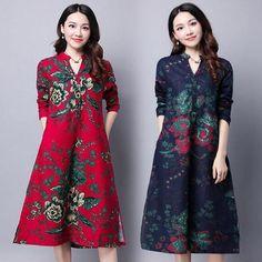 Women Cotton Linen A-Line Loose Floral Long Sleeve Retro Shirt Tunic Dress