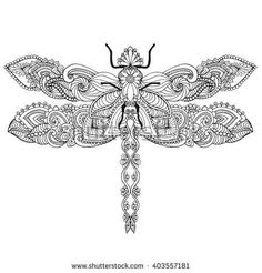 Zentangle stylized dragonfly. Ethnic patterned vector illustration. African, indian, totem, tribal, zentangle design. Sketch for adult coloring page, tattoo, posters, print or t-shirt.