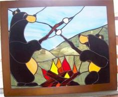Even bears like smores! Stained Glass Panel