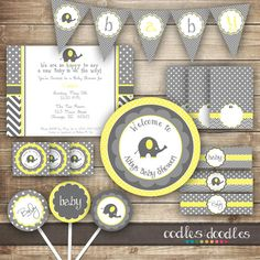 Elephant Baby Shower Gender Neutral Baby Shower Yellow and