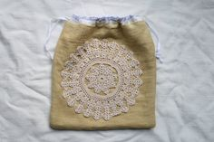 vintage crochet + linen project bag 8