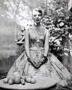 Cocktail dress by Heinz Oestergard, 1956. Model: Christa Päffgen (later known as Nico). Photographer: Herbert Tobias.