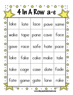 Classroom Freebies Too: Magic e 4-In-A-Row