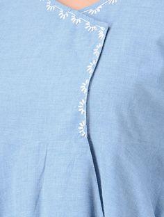 Blue Hand-embroidered Cotton Wrap Kurta with Asymmetrical Hem Embroidery On Kurtis, Hand Embroidery Dress, Kurti Embroidery Design, Embroidery Neck Designs, Embroidery On Clothes, Embroidery Motifs, Simple Embroidery, Embroidered Clothes, Embroidery Fashion