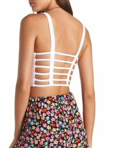 strappy caged-back crop top @ Charlotte Russe