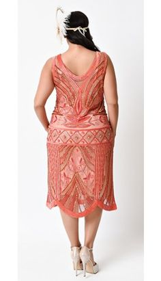 Unique Vintage Plus Size 1920s Peach Deco Beaded Caspian Flapper Dress