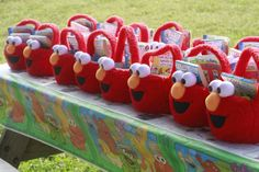Loads of inspiration for Elmo party - Elmo easter baskets turned into gift baskets, themed food, custom invites and more from The Mom Creative Elmo Birthday, 2nd Birthday Parties, Birthday Ideas, Kid Parties, Birthday Cake, Sesame Street Party, Sesame Street Birthday, Elmo Party Favors, Party Bags