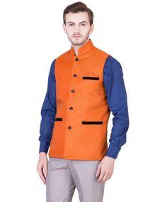 c6e4688b5b2 Orange Cotton Jute Nehru Jacket  799 Rupees Nehru Jackets