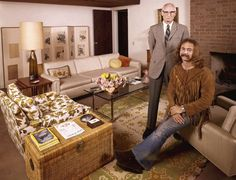 """Crosby"" of Crosby, Stills, Nash & Young posed with his father Floyd, an Oscar-winning cinematographer, in the Ojai, Calif., home Floyd shared with his second wife in 1970. ""In the last few years we've become good friends,"" David told LIFE. ""What I like best about him is that he seems to feel no need for me to be like him, so we're not offended by each other's differences. Like he knows I get high. He doesn't do it and he doesn't approve of it, but he doesn't inflict his values on me."""