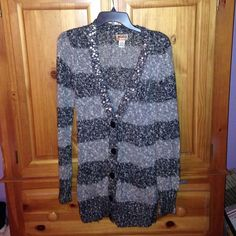 Mudd Cardigan Mudd Sweater Cardigan. Has been worn twice. In great condition. Black/Gray stripes. Buttons. 2 front pockets.  58% cotton~34% Acrylic~ 7% polyester. Mudd Sweaters Cardigans