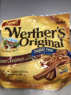 Storck Werther's original caramel cinnamon hard candies sugar free