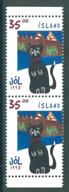 ICELAND 1998 stamp Christmas Cat from booklet 35 kr pair um (NH) mint