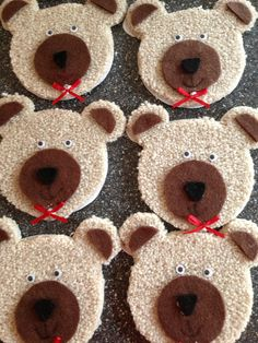 Teddy Bears Picnic toast idea - white bread lightly toasted + wholemeal bread darkly toasted, marshmallow or white choc chip eyes