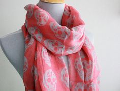 Pink Abtract Skull  Gray Skull Aztec Scarf by dailyaccessoriez, $12.99