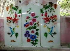 Pooja Rooms, Glass Painting Designs, Glass Etching Designs, Curtains And Draperies, Glass Painting, Glass Design, Paint Designs, Window Glass Design, Color Design