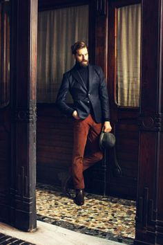Walter did a similar look with red corduroy pants.  I think this color contrast might be my new favorite.