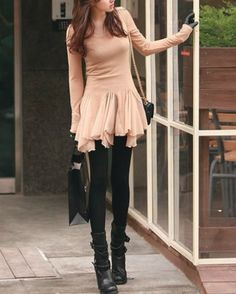Khaki Chiffon and Blends Ladies Sexy Round Neck Long Sleeve Slim Top Love this outfit!