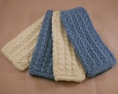 Gentle Ridges dishcloths shown in blue and white
