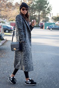Long coat, leopard and sneakers kind of like my look