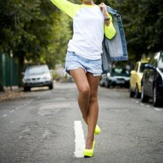 neon yellow baseball tee