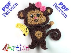 Monkey with bow and banane  This is an -INSTANT DOWNLOAD- pattern of a cute…