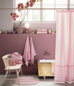 Ditch that plastic shower curtain + opt for a chic stylish fabric shower curtain.