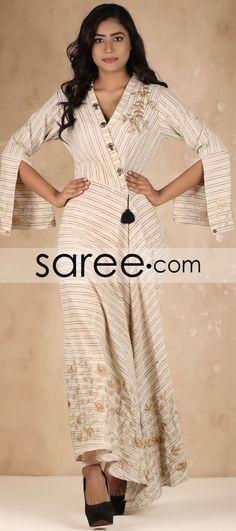 9401f6d51db538 Cream Cotton Indo-Western Long Kurti Indo Western Kurti, Ethnic Kurti,  Western Dresses
