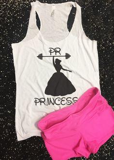 232cc3e3695a9 PR Personal record Princess workout   gym tank top. Aunt T Shirts