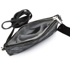Silver metallic leather and black mini purse bag by Hydestyle. Black suede on reverse side with zip pocket. Black and white striped design on the inside with tw Metallic Leather, Black Suede, Mini Purse, Stripes Design, Purses, Black And White, Bag, Cards, Style
