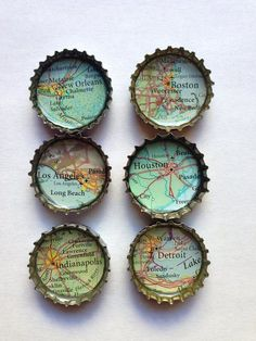 Bottle Cap Magnets Recycled Atlas/ Map #recycling