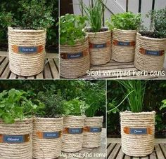 Low-budget and Easy Container Ideas For Herb Garden – HomeDesignInspired If You Have some Empty Coffee Cans, Reuse Them and Create a Sisal Wrapped Cans Garden Diy Garden, Garden Care, Garden Crafts, Herb Garden, Garden Projects, Garden Ideas, Craft Projects, Coffee Can Crafts, Tin Can Crafts