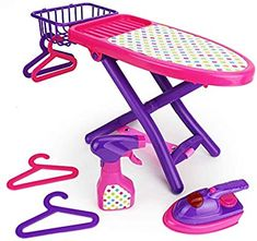 Boley Pretend Play Laundry Playset - Pink and Purple Laundry Toys with Ironing Board, Toy Iron, Spray Bottle, Hangers and Toy Storage Basket for Kids and Toddlers Little Girl Toys, Baby Girl Toys, Toys For Girls, Kids Toys, Baby Alive Doll Clothes, Baby Alive Dolls, Baby Dolls, Zapf Creation, Toy Storage Baskets