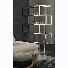 Stainless Steel Bookcases - Ideas on Foter Steel Bookshelf, Low Bookshelves, 5 Shelf Bookcase, Open Bookcase, Open Shelving, Contemporary Bookcase, Contemporary Interior, Modern Interior Design, Leaning Shelf