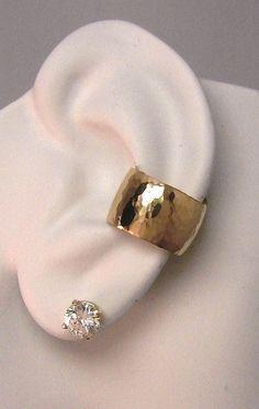Ear Cuff, Pink ROSE Gold Ear cuff,Non-pierced, Cartilage Earring Fake Conch,No Piercing Cuff Earring, Faux Pierced Hammered Wide E3R14KHMD