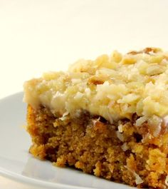 Irish Oatmeal cake made with old Irish whiskey and amazing broiled coconut walnut topping, great St Patty's Day dessert!