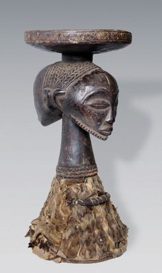 Africa | Janus faced stool from the Luba or Hemba people of DR Congo | Wood, animal hide, cord and textiles