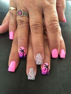 Pinks Nail Studio by Julieakapink - Beach Nails Cruise Nails, Vacation Nails, Hawaii Nails, Beach Nails, Beach Holiday Nails, Beach Nail Designs, Toe Nail Designs, Tropical Nail Designs, Tropical Nail Art