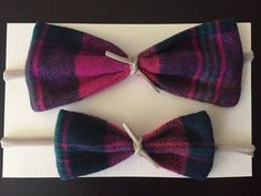 Everly plaid bow set one big bow and one small bow by ItsyBitsyCo