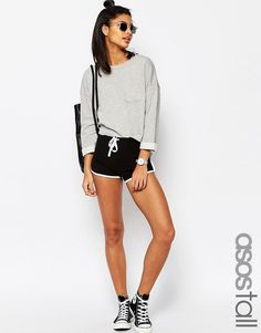 ASOS TALL Basic Cotton Shorts with Contrast Binding