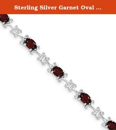 Sterling Silver Garnet Oval Bracelet. Product Type:Jewelry Jewelry Type:Bracelets Bracelet Type:Gemstones/Natural Stones Material: Primary:Sterling Silver Material: Primary - Color:White Material: Primary - Purity:925 Finish:Polished Plating:Rhodium Chain Length:7 in Chain Width:6 mm Clasp /Connector:Box Catch Profile Type:Open Back Stone Type_1:Garnet Stone Creation Method_1:Natural Stone Treatment_1:Not Enhanced Stone Color_1:Red Stone Weight_1:9.9 ctw (total weight) .