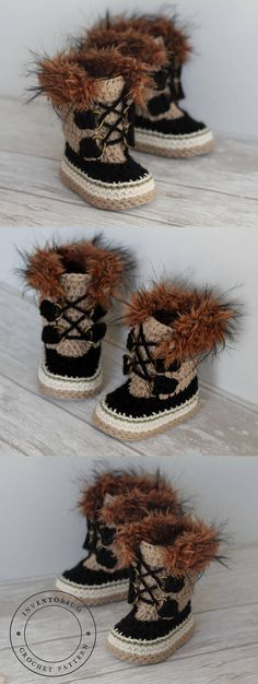 "I would have made these for my nephew when he was younger. So cute. CROCHET PATTERN ""Summit Snowboots"" #ad #crochet #crocheting #crochetpattern #pattern #patternsforcrochet #etsy #etsyfinds #etsygifts"