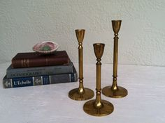 s/3 Vintage BRASS Candle Holders Graduated by RetroStampedRare