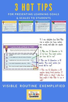 Today I'm sharing 3 hot tips to presenting Marzano scales to students ... Visibility, Routine, and Examples... so you can shimmy over the learning curve with ease!