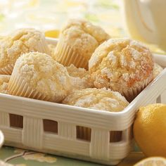 Lemon Crumb Muffins ~ can have the dough for these muffins ready and waiting in the refrigerator when company comes. They bake up in just 20 minutes and taste delicious warm. Their cake-like texture makes them perfect for breakfast, dessert or snacking. Lemon Desserts, Lemon Recipes, Delicious Desserts, Yummy Food, Easy Recipes, Muffin Recipes, Bread Recipes, Breakfast Recipes, Cooking Recipes
