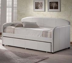 Hillsdale Furniture Springfield Daybed in White with Free Mattress USD Metal Daybed With Trundle, Full Size Daybed, Daybed Sets, Daybed Mattress, Daybed Bedding, Upholstered Daybed, Leather Daybed, Hillsdale Furniture, Childrens Beds